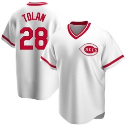 Bobby Tolan Cincinnati Reds Men's Replica Home Cooperstown Collection Jersey - White