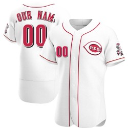 Custom Cincinnati Reds Men's Authentic Home Jersey - White