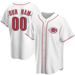 Custom Cincinnati Reds Men's Replica Home Jersey - White