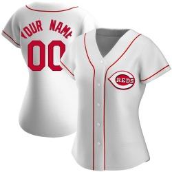 Custom Cincinnati Reds Women's Authentic Home Jersey - White