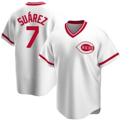 Eugenio Suarez Cincinnati Reds Men's Replica Home Cooperstown Collection Jersey - White