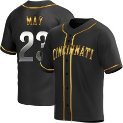 Lee May Cincinnati Reds Youth Replica Alternate Jersey - Black Golden