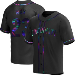 Lee May Cincinnati Reds Youth Replica Alternate Jersey - Black Holographic