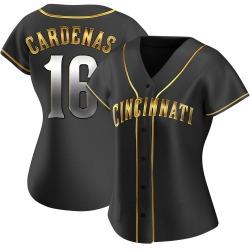 Leo Cardenas Cincinnati Reds Women's Replica Alternate Jersey - Black Golden