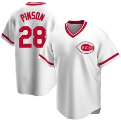 Vada Pinson Cincinnati Reds Men's Replica Home Cooperstown Collection Jersey - White